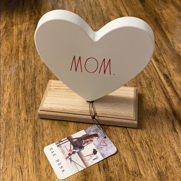 Rae Dunn Mom Metal Sign Wood Stand Valentines Day